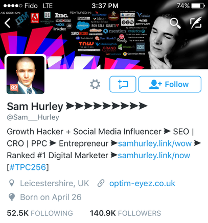 sam hurley's twitter profile from 2016