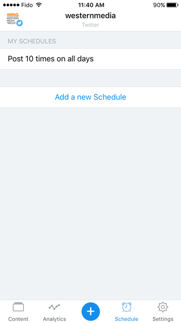 Buffer's add a new schedule screen