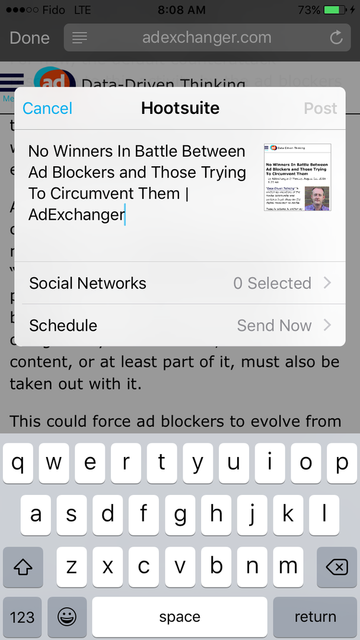 After entering a post in Hootsuite's mobile app, you have the choice between choosing Social Networks and Schedule