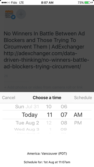 Choosing a time to post with Buffer's mobile scheduling screen 3/3