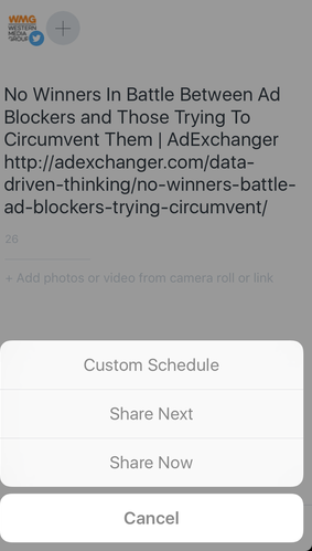 Set a custom schedule or choose to share now or share next with Buffer's mobile scheduling screen