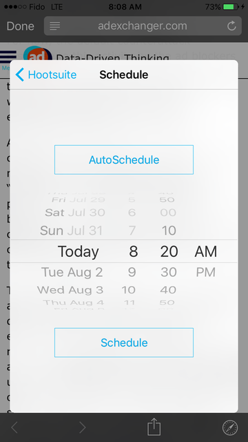 Hootsuite's scheduling screen shows a rotating dial and two buttons that say AutoSchedule and Schedule