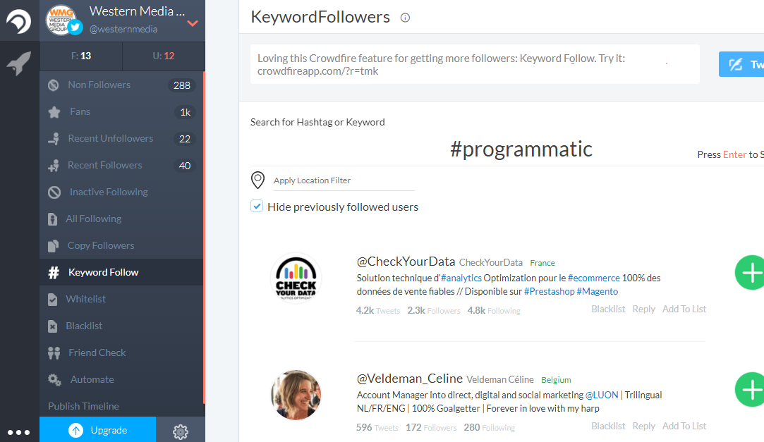 Crowdfire Keyword Followers