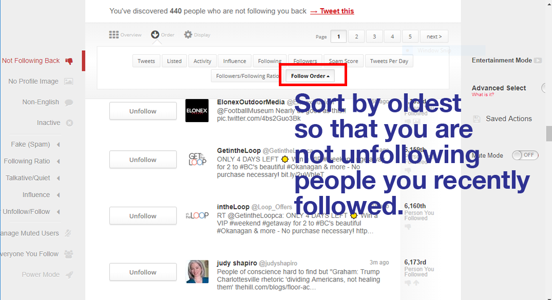 Manageflitter unfollow sort by oldest follow first
