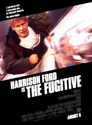 Movie poster of The Fugitive with Harrison Ford running