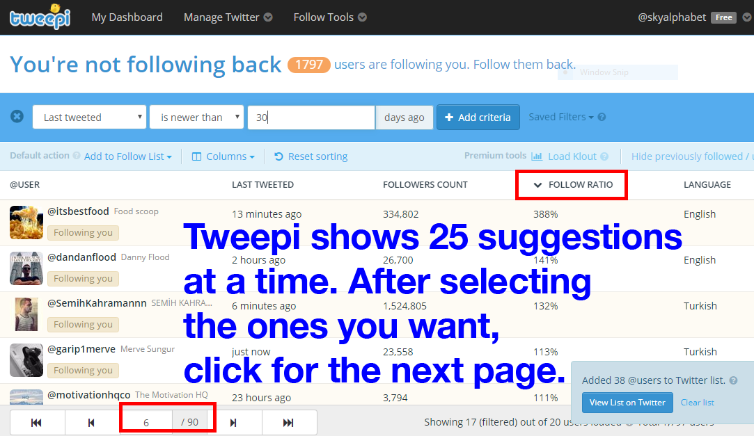 Tweepi shows 25 suggestions at a time