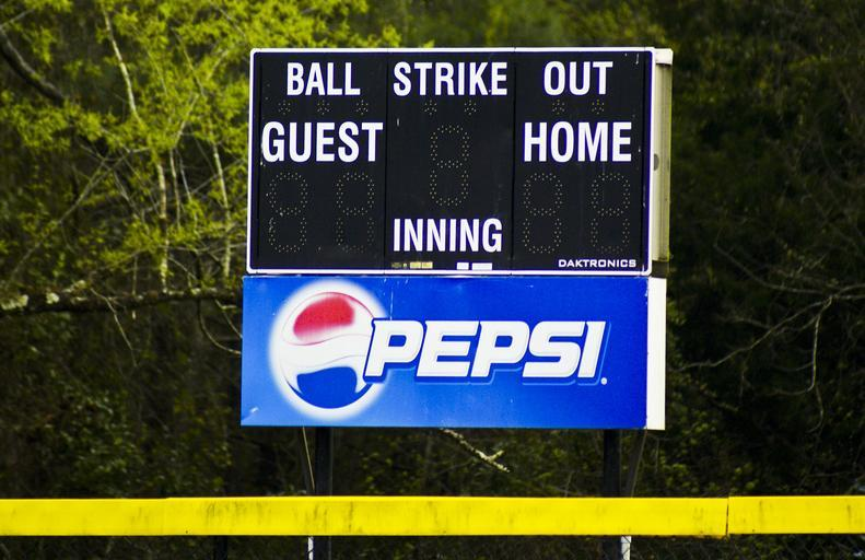 Baseball scoreboard showing no points for home or away