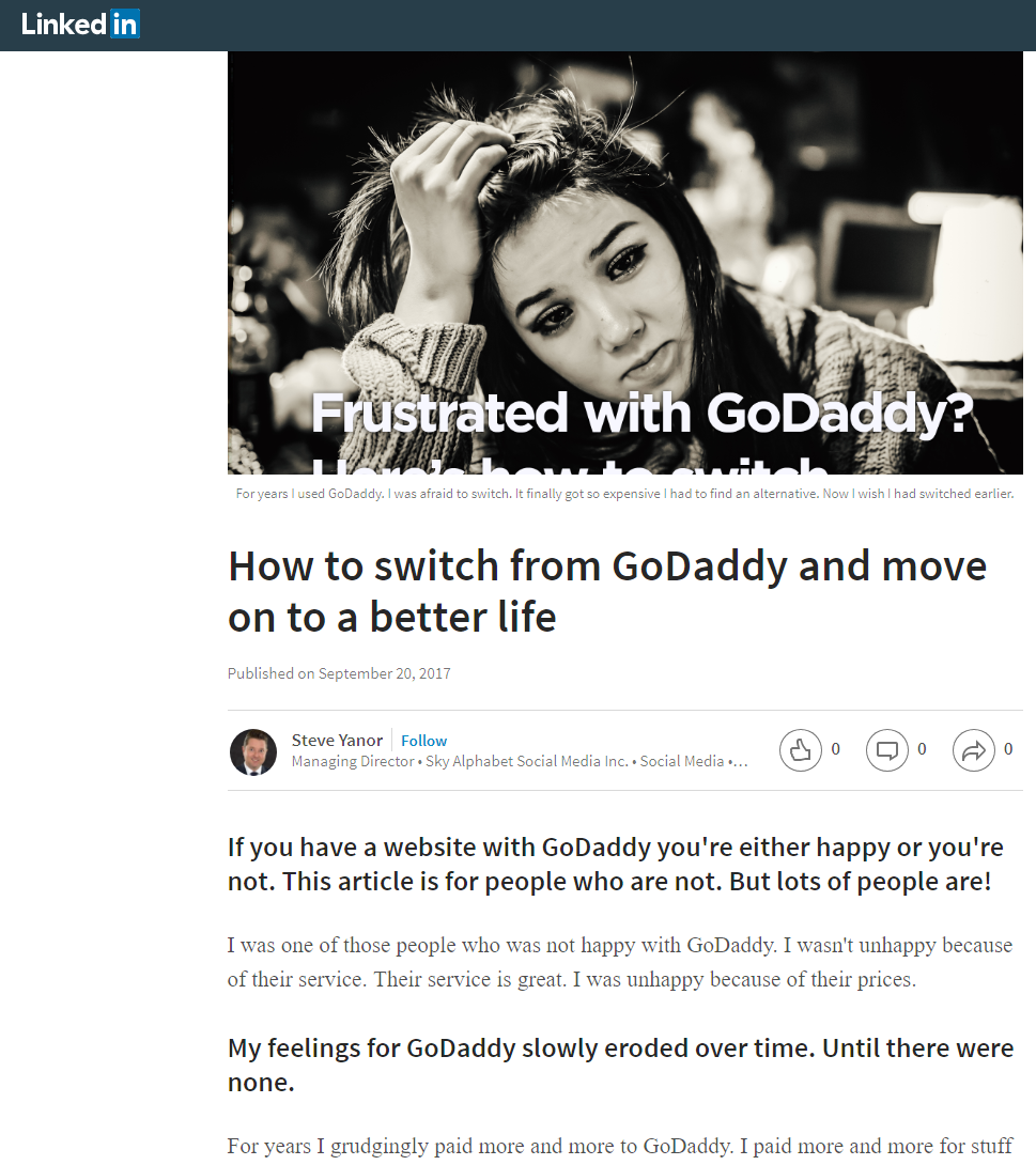 GoDaddy article on linkedin