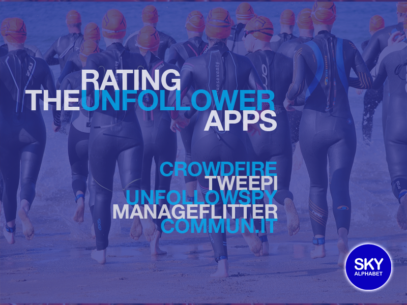 Rating the unfollower apps with crowdfire, tweepi, unfollowspy,manageflitter, communit over a background of a crowd running away