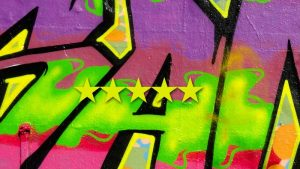 5 stars for Vancouver social media agency Sky Alphabet Social Media Inc. - grafitti wall spray paint