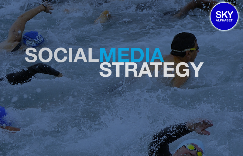 Social media strategy superimposed over compeititve swimmers