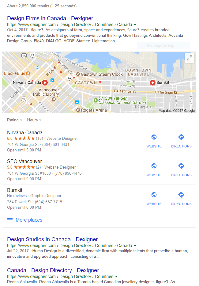google search for design firms canada