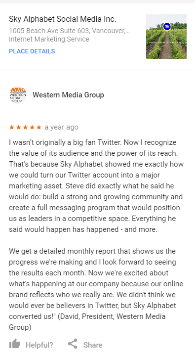 WMG 5 star review for sky alphabet social media a leading vancouver social media agency