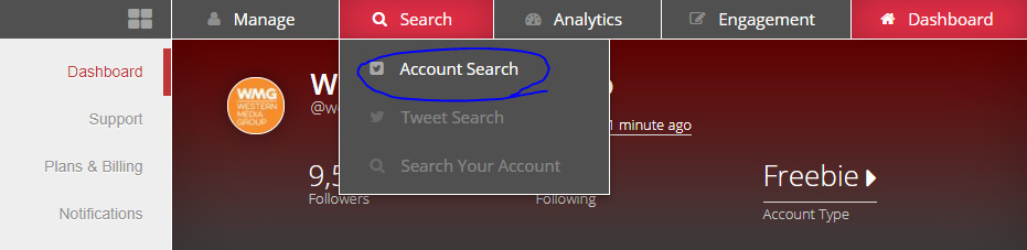 Using manageflitter account search