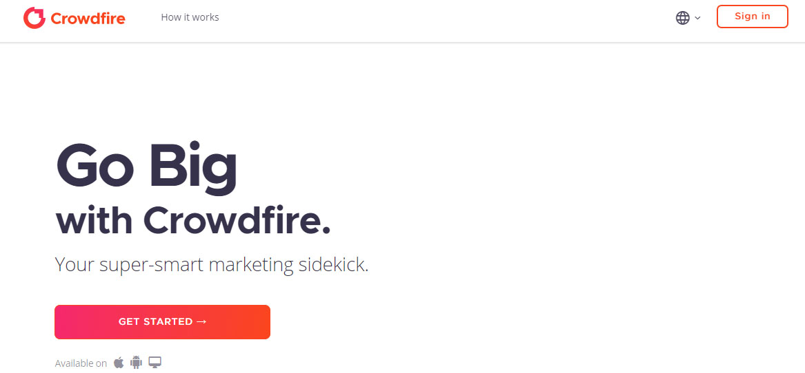 Crowdfire welcome screen your marketing sidekick