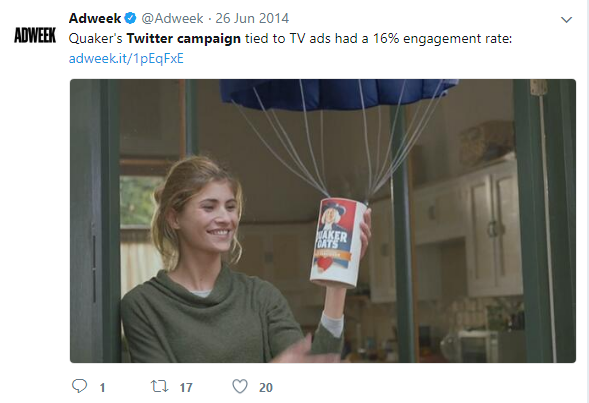 Quaker TV engagement high with twitter tweet from adweek