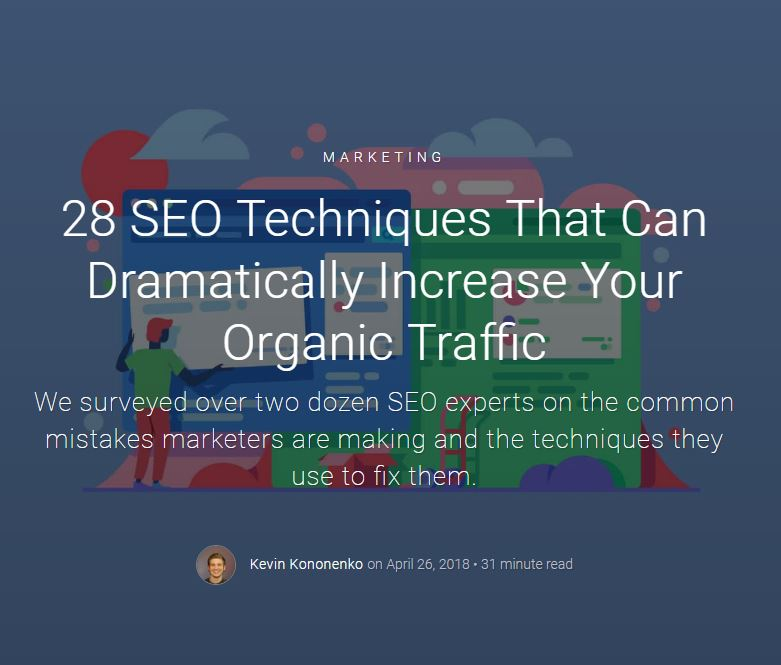 28 SEO techniques to increase organic traffic by Databox
