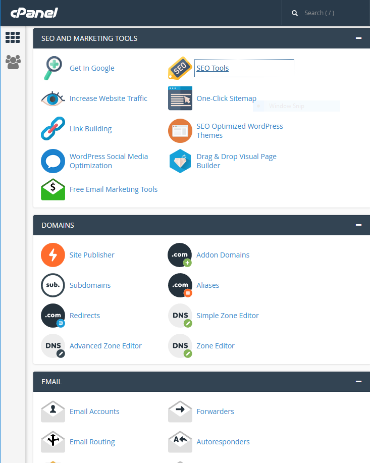 "Screenshot of ""cPanel"" administrative screen showing some of the options"
