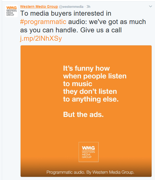 "Programmatic Audio campaign still #20: ""It's funny  how when people listen to music they don't listen to anything else. But the ads."""