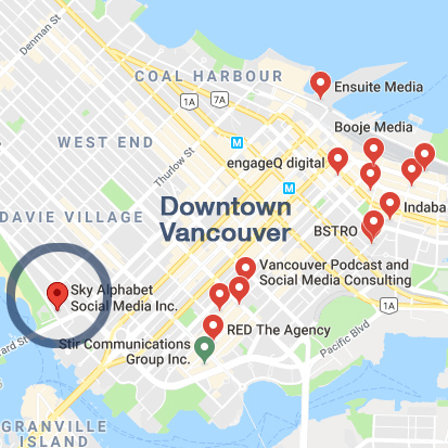 top social media marketing agencies in downtown Vancouver, BC include Rethink, Cossette, NationalPR, Sky Alphabet and Edelman.