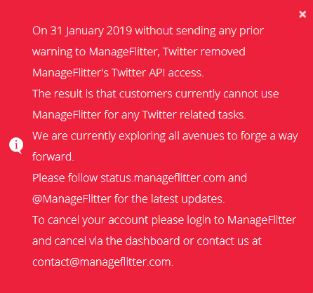Manageflitter's API access revoked by Twitter