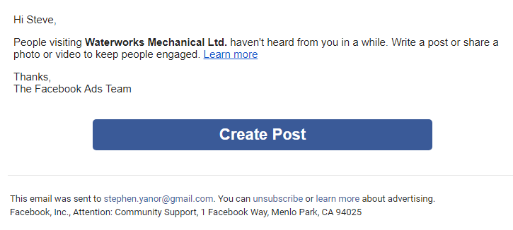 Have you ever received a notification from Facebook telling you to post something? What's the point if no one see it?