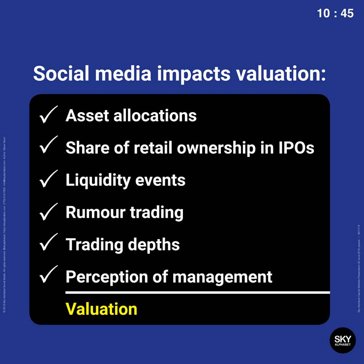 social media impacts valuation through asset allocations, share of retail ownership in IPOs, liquidity events, rumour trading, trading depths, and perception of management.