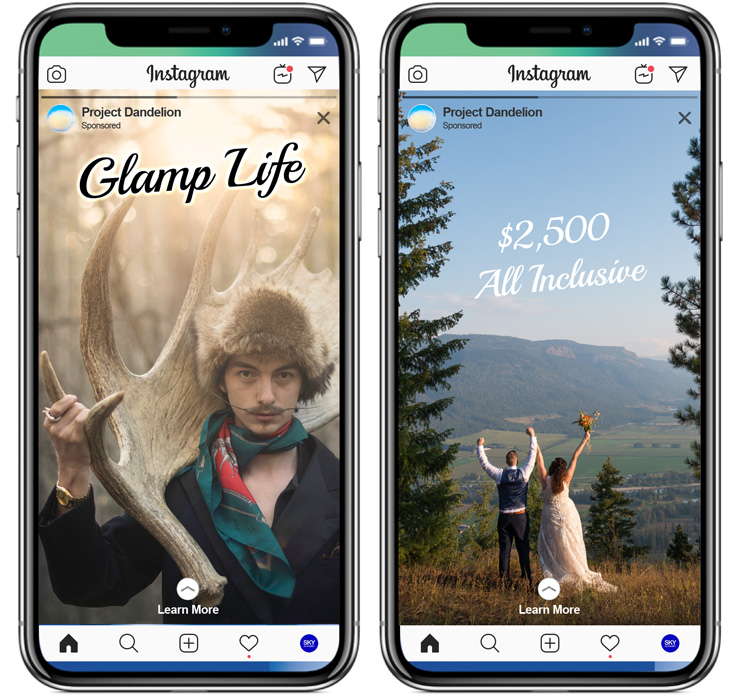 Instagram Stories open full frame and play for up to 15 seconds. We can post these organically so you don't have to or we can buy ads that put the creative on the screens of thousands of people.