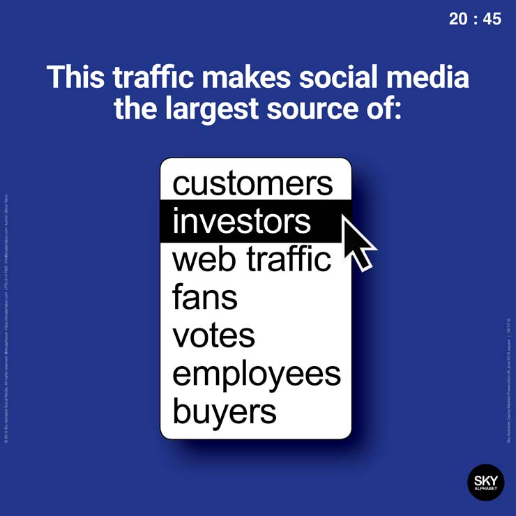With so much traffic, social media is the largest potential  source of investor eyeballs.
