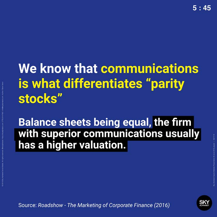 Communications is often the key contributor to value deltas between two stocks that have identical book value but widely different market capitalizations.