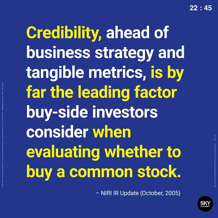 Credibility is by far the leading factor buy-side investors consider when evaluating whether to buy a common stock.