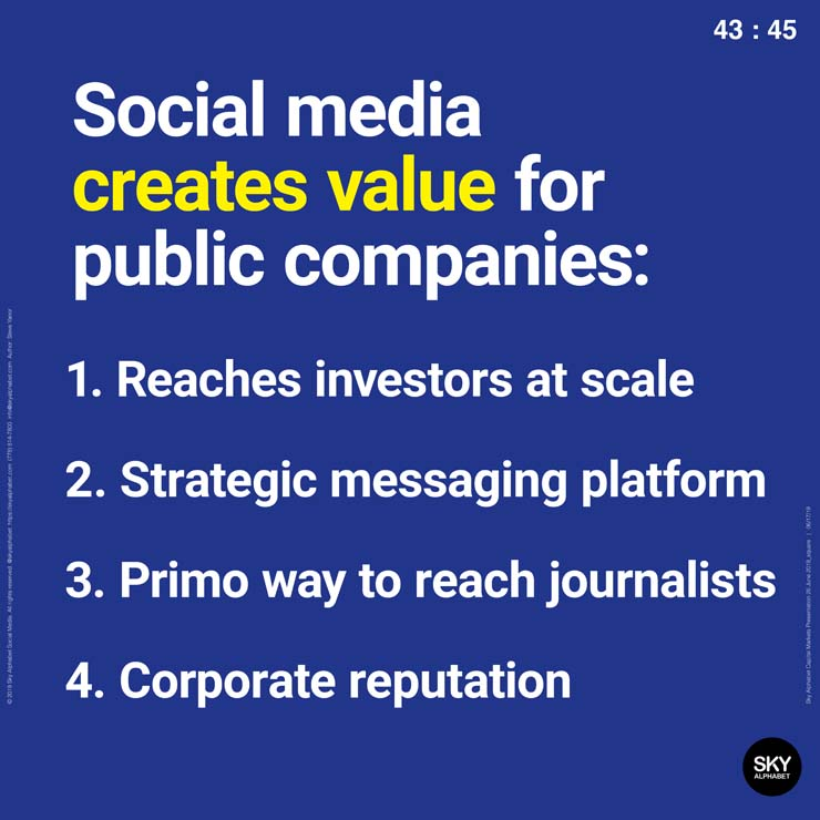 Social media creates value for public companies by reaching investors at scale.