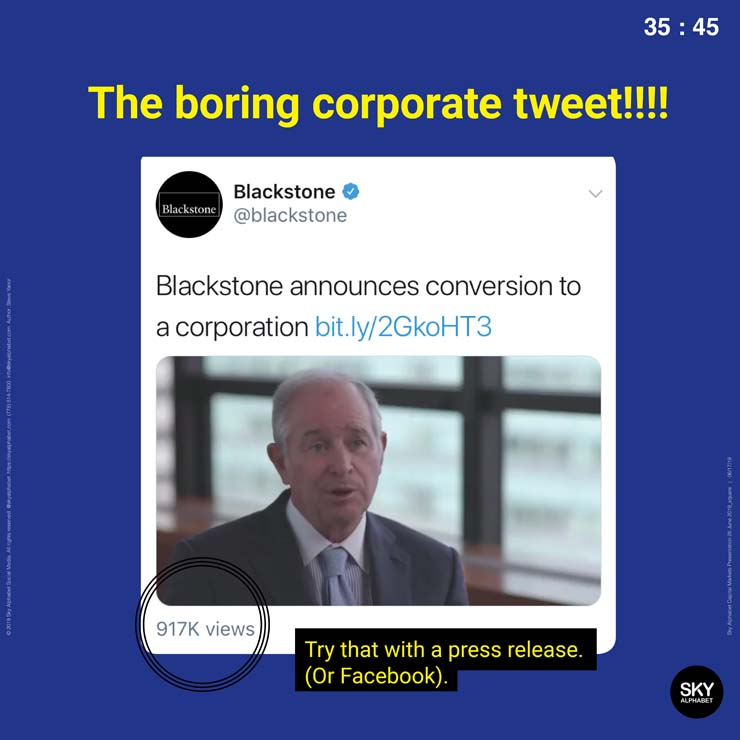 The boring corporate tweet got many more views!
