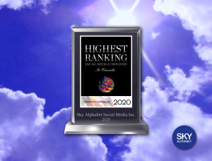 "We were recently recognized as one of Canada's ""highest Ranked"" social media agencies.."
