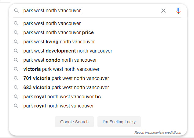 SEO Vancouver example of how someone who has been searching for presale condos are now narrowing their search for more specific intent.