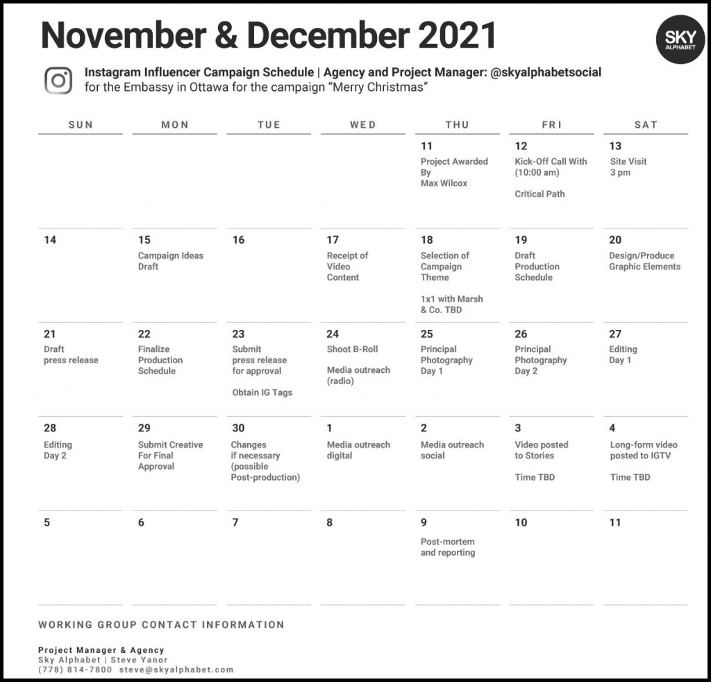 Influencer Marketing Campaign schedule for a 2021 US trade mission to Canada.