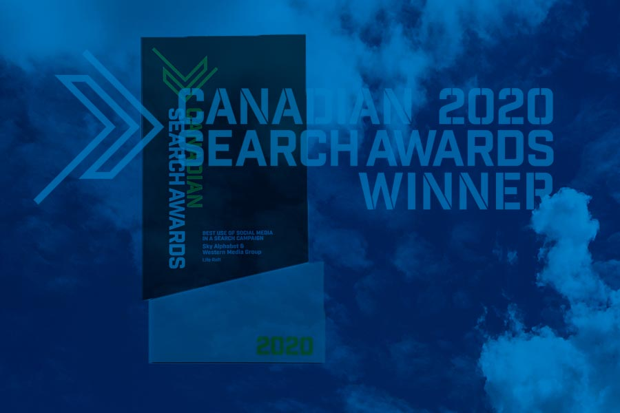 Best social media award Sky Alphabet 2020 Canadian Search Awards