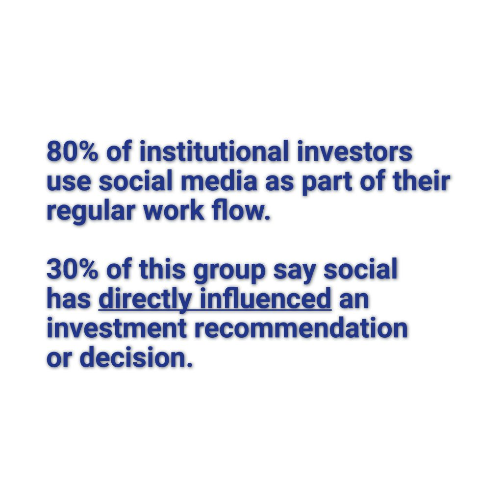 Social media is part of the regular workflow for 80% of institutional investors. But retail investors make their decisions based on what they read on social media.