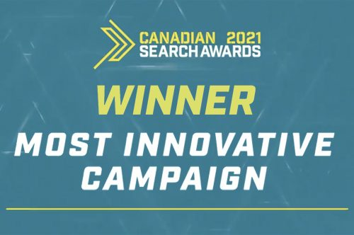 """Sky Alphabet won the """"most innovative"""" campaign award on June 10, 2021 at the Canadian Search Awards."""